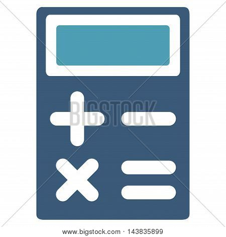 Calculator icon. Vector style is bicolor flat iconic symbol with rounded angles, cyan and blue colors, white background.