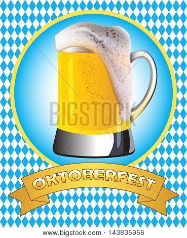 Oktoberfest poster design. Misted mug of golden beer on traditional oktoberfest pattern.