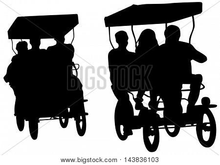 Chinese rickshaw with people on a white background