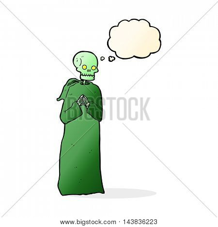 cartoon skeleton in black robe with thought bubble