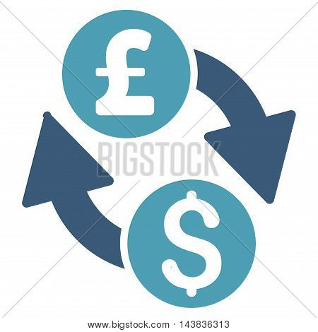 Dollar Pound Exchange icon. Vector style is bicolor flat iconic symbol with rounded angles, cyan and blue colors, white background.