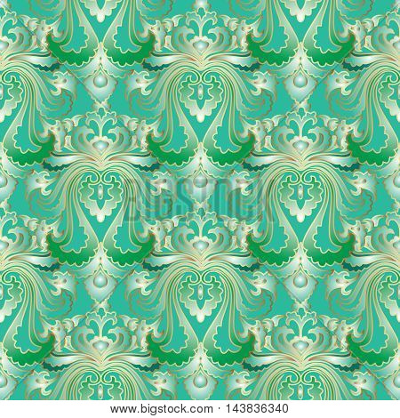 Light green luxury modern vector floral vintage seamless pattern background with stylish beautiful ornaments and gold outline. Royal illustration and 3d vintage decor elements with shadow and highlights. Endless elegant  texture.