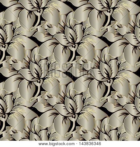 Light brown pearl stylish modern floral vector seamless pattern background with vintage big volumetric  flowers and ornaments with gold outline.Luxury  illustration and 3d vintage decor elements with shadow and highlights. Endless elegant  texture.