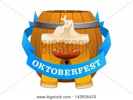 Oktoberfest festival cold beer on a background of barrel isolated