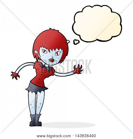 cartoon vampire girl welcoming with thought bubble