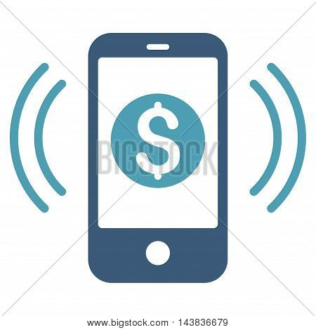 Payment Phone Ring icon. Vector style is bicolor flat iconic symbol with rounded angles, cyan and blue colors, white background.