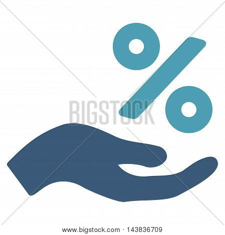 Percent Offer Hand icon. Vector style is bicolor flat iconic symbol with rounded angles, cyan and blue colors, white background.