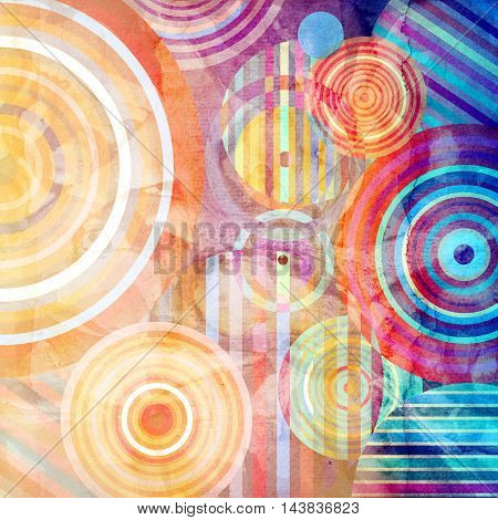 Watercolor Retro abstract background with geometric circles