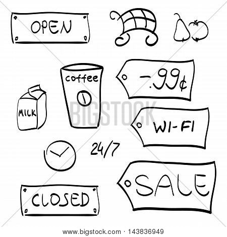 Shopping hand drawn black  vector symbols on white