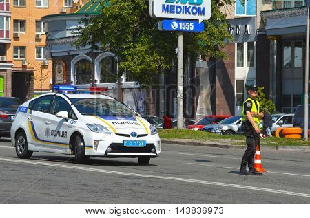 Police work at the scene of a traffic accident.August 22,2016,Kiev, Ukraine