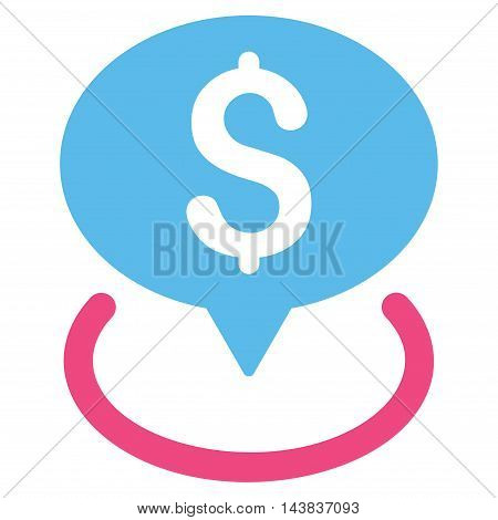 Bank Location icon. Vector style is bicolor flat iconic symbol with rounded angles, pink and blue colors, white background.