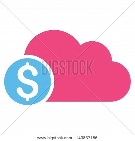 Banking Cloud icon. Vector style is bicolor flat iconic symbol with rounded angles, pink and blue colors, white background.