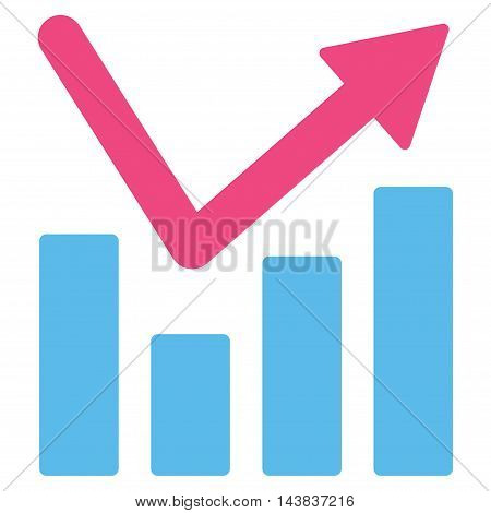 Bar Chart Trend icon. Vector style is bicolor flat iconic symbol with rounded angles, pink and blue colors, white background.