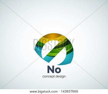 Vector no concept, prohibition logo template, abstract business icon