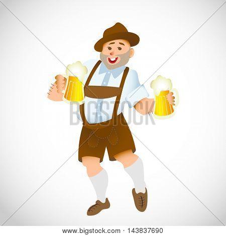 Bavarian man celebrating oktoberfest with a big glass of beer. Vector illustration
