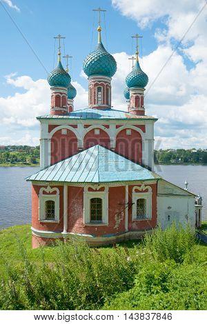 Church of the icon of the Mother of God of Kazan closeup on the banks of the Volga . Tutayev Yaroslavl region, Russia