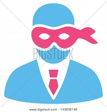 Masked Thief icon. Vector style is bicolor flat iconic symbol with rounded angles, pink and blue colors, white background.