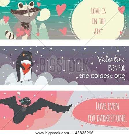 Valentine horizontal banners set with fun animals with hearts and motivating quotes in text holders smiling cute with closed eyes. Vector kind illustration isolated on white.