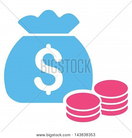 Money Bag icon. Vector style is bicolor flat iconic symbol with rounded angles, pink and blue colors, white background.