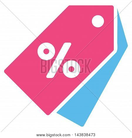 Percent Discount Tags icon. Vector style is bicolor flat iconic symbol with rounded angles, pink and blue colors, white background.