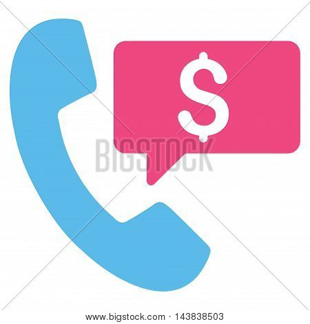 Phone Order icon. Vector style is bicolor flat iconic symbol with rounded angles, pink and blue colors, white background.