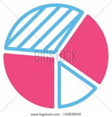 Pie Chart icon. Vector style is bicolor flat iconic symbol with rounded angles, pink and blue colors, white background.