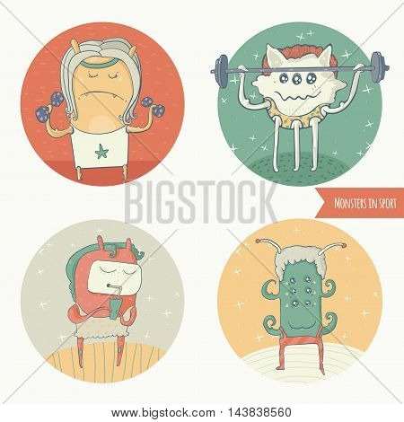 Set of fun monster icons doing sport exercises in gym with barbell and dumbbells one is eating healthy cocktail. Vector cute illustration