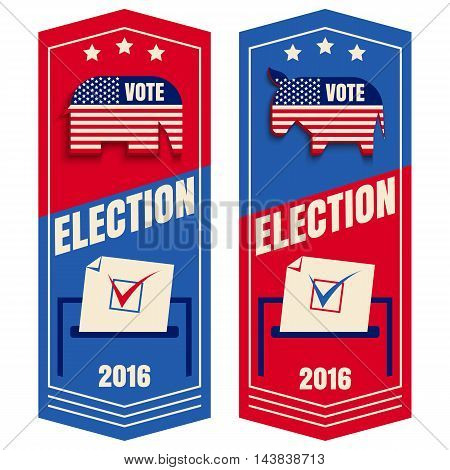 Vector set banner for vote with elephant donkey and box