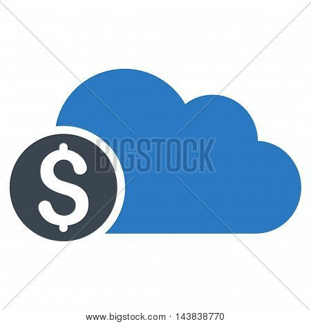 Banking Cloud icon. Vector style is bicolor flat iconic symbol with rounded angles, smooth blue colors, white background.