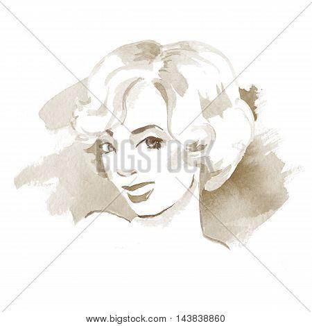 Blonde woman. Beautiful female face. Watercolor.  Retro style