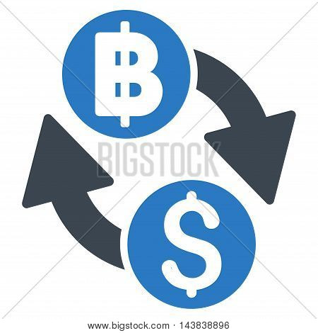 Dollar Baht Exchange icon. Vector style is bicolor flat iconic symbol with rounded angles, smooth blue colors, white background.