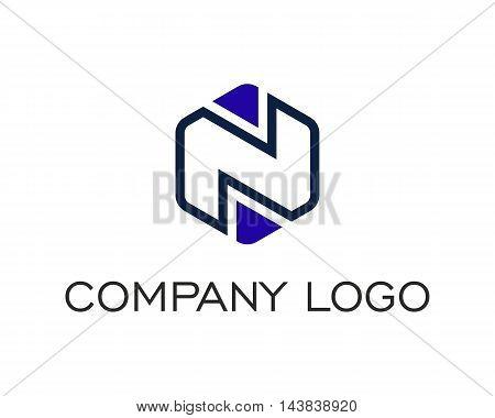 Letter N Logo compose from hexagonal shape