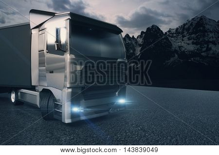 Closeup and side view of black truck with blank trailer on mountain landscape background. Mock up 3D Rendering