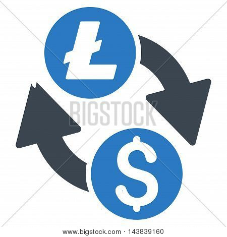 Dollar Litecoin Exchange icon. Vector style is bicolor flat iconic symbol with rounded angles, smooth blue colors, white background.