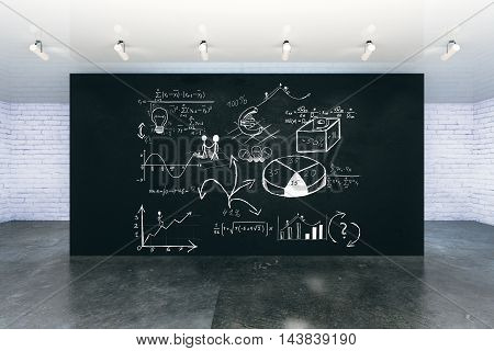 New room interior with business charts and diagrams on black wall. 3D Rendering