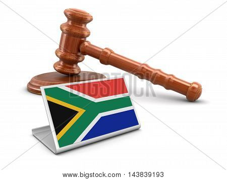 3D Illustration. 3d wooden mallet and flag of South African republic. Image with clipping path