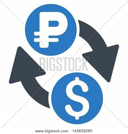 Dollar Rouble Exchange icon. Vector style is bicolor flat iconic symbol with rounded angles, smooth blue colors, white background.