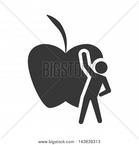 apple stretching healthy lifestyle fitness silhouette icon. Flat and Isolated design. Vector illustration