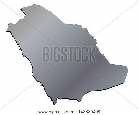 Vector 3D Aluminium Map of Saudi Arabia