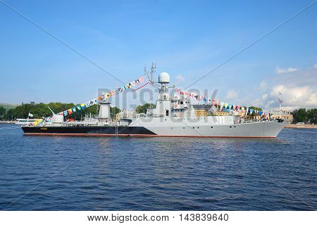 ST. PETERSBURG, RUSSIA - JULY 28, 2016: Small anti-submarine ship