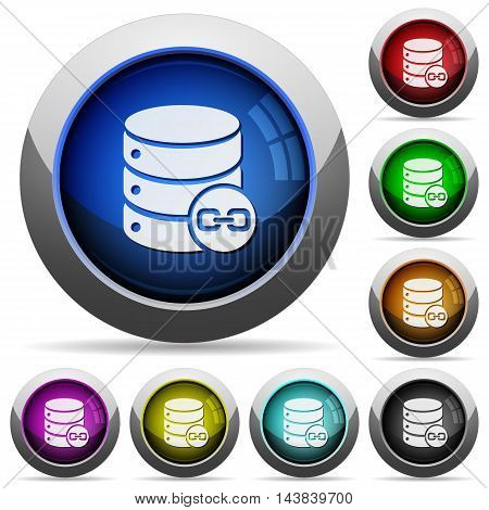 Set of round glossy Joined database tables buttons. Arranged layer structure.