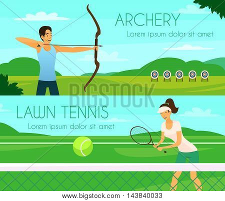 Sport people colorful horizontal banners with young girl playing tennis and archer shooting at targets flat vector illustration