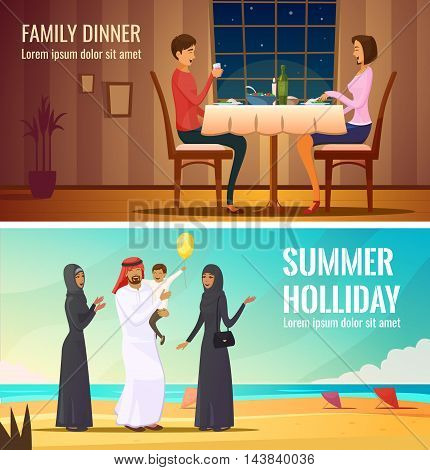 Eastern people design compositions with arab family in traditional costumes at south sea background and couple having dinner in restaurant flat vector illustration