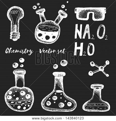 Chemistry and biochemistry vector set Hand drawn elements