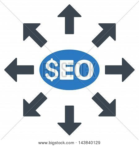 Seo Distribution icon. Vector style is bicolor flat iconic symbol with rounded angles, smooth blue colors, white background.