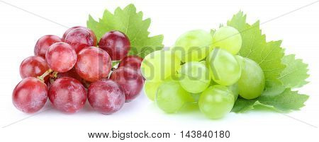 Grapes Red Green Fruits Isolated On White