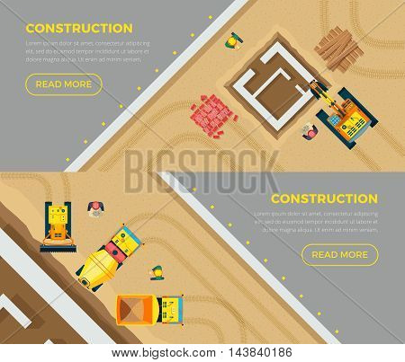 Construction horizontal banners set top view with machines flat isolated vector illustration
