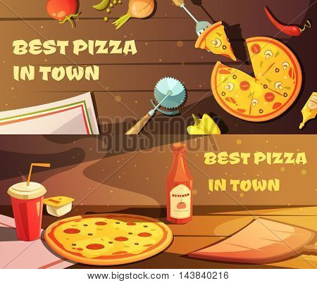 Set of horizontal banners for restaurant with advertising of best pizza in town flat vector illustration