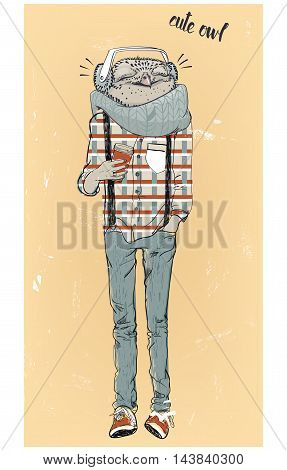 cute fashion hipster owl with headphones. vector illustration