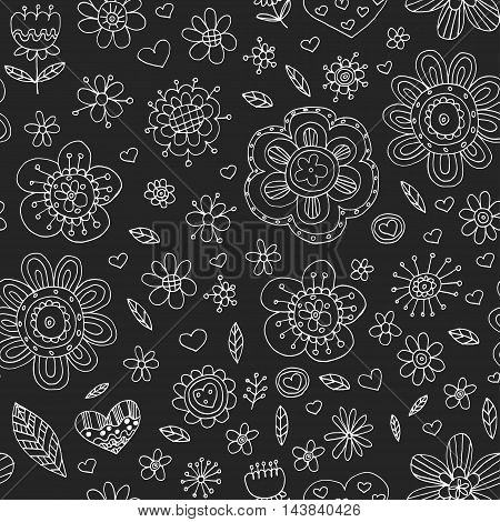Vector pattern with flowers Doodle and zentangle style Naive art